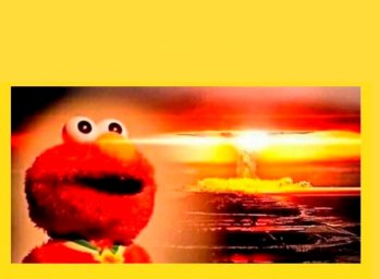 "Шаблон мема ""Элмо на фона ядерного взрыва"""