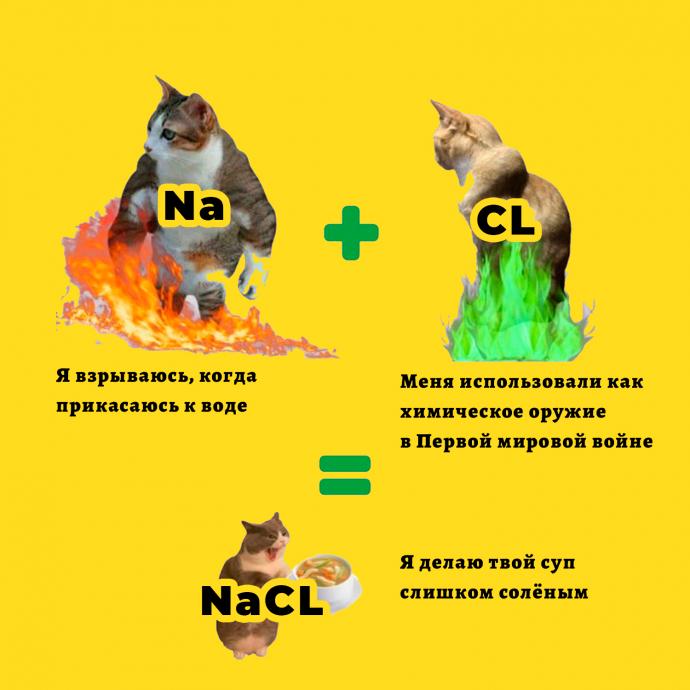 Мем - коты и таблица Менделеева - NaCl