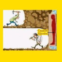 мем - Где прячется Саддам Хусейн - трудолюбие