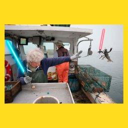 мем - женщина бросает лобстера в океан - битва на мечах