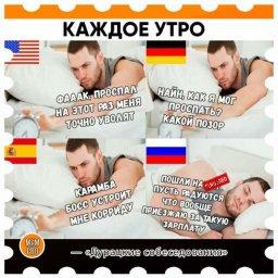 Каждое рабочее утро в разных странах