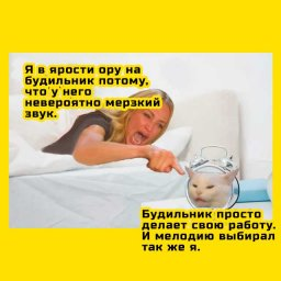 мем - женщина кричит на кота. потому что он будильник