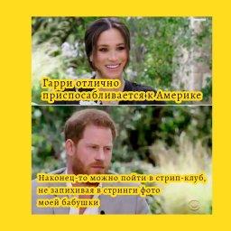 мем - Интервью Гарри и Маркл - в стрип-клуб