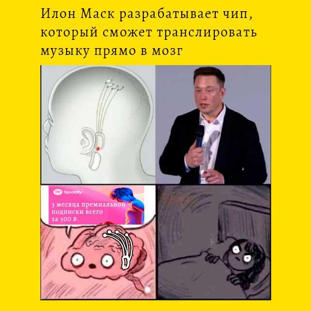 Илон Маск делает музыкальный чип для мозга