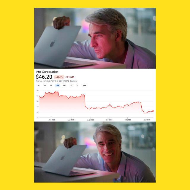 мем - Крейг Федериги смотрит в MacBook - смотрит на акции Intel