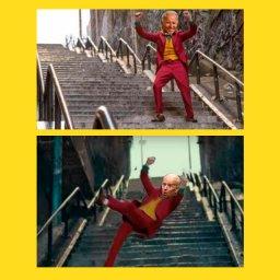 мем - Джо Байден и трап самолёта - в образе Джокера