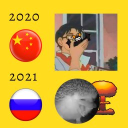 мем ежик чихает - Китай и Россия