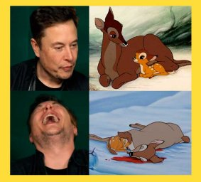 Илон Маск смеется над оленем: смотреть Bambi