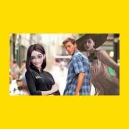 мем - Samsung Sam - парень с двумя девушками