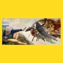 мем - женщина бросает лобстера в океан - Леонардо да Винчи