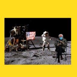 мем - Берни Сандерс -  на Луне