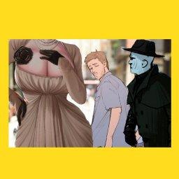 Мем про Димитреску - resident evil - чувак оборачивается